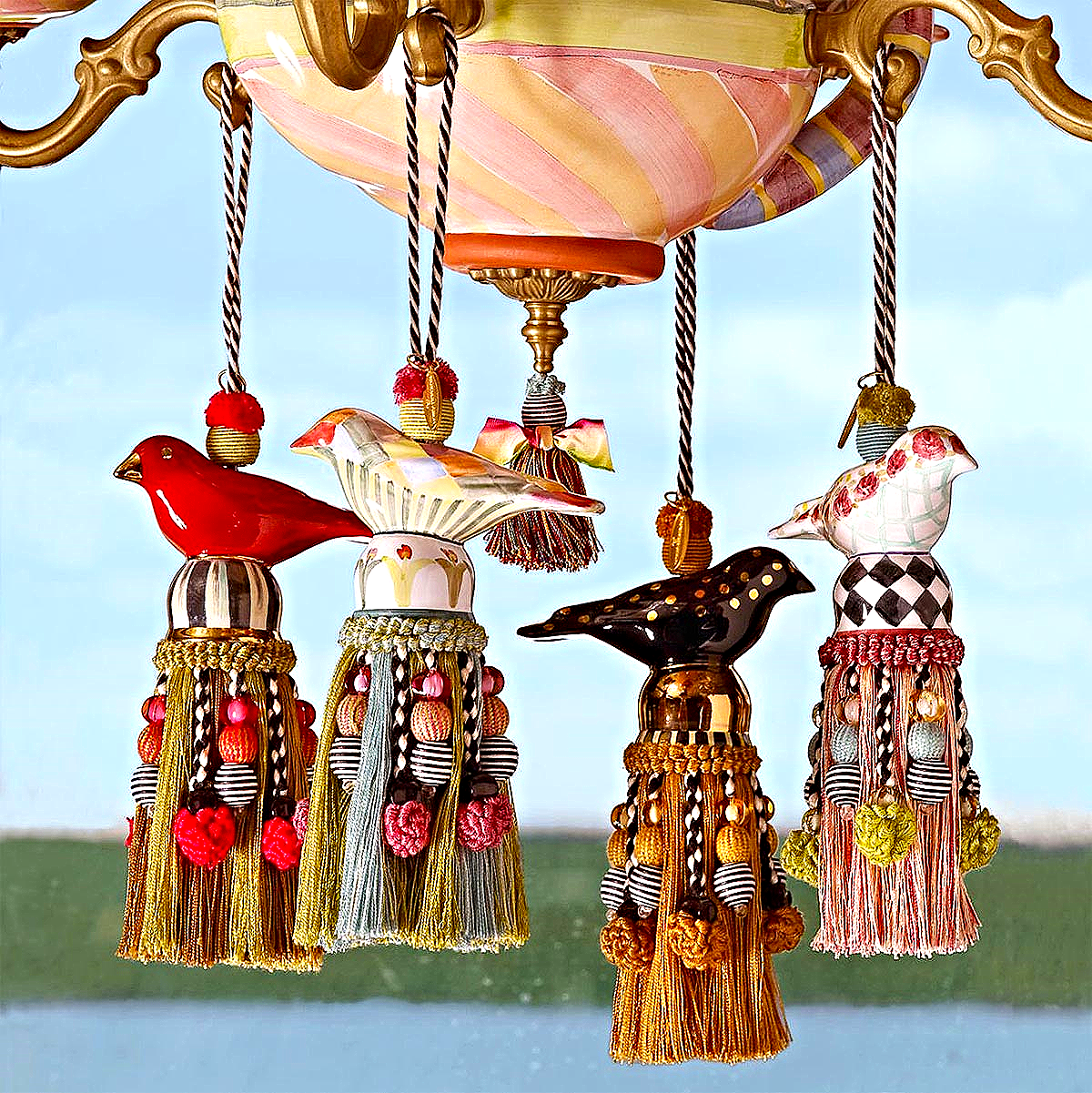 Ceramic Bird Tassels - Black & Gold, Red & Gold, Harlequin And Rose