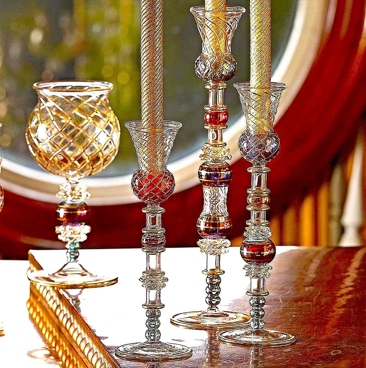 Large, Medium and Small Aerial Candlesticks