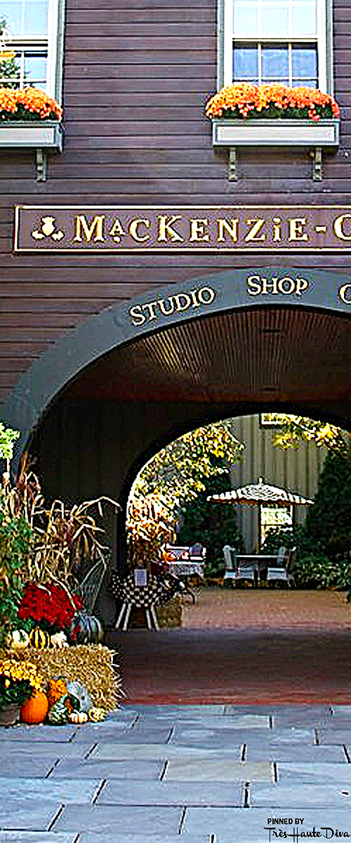 Visit the Shop  - Walk past the archway and you'll come to the Shop entrance. This light-filled and charming store displays the complete line of MacKenzie-Childs products and delightful gifts.