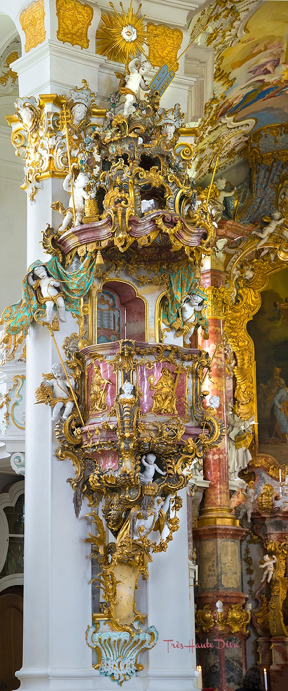 Rococo Interior of Pilgrimage Church of Wies, Germany