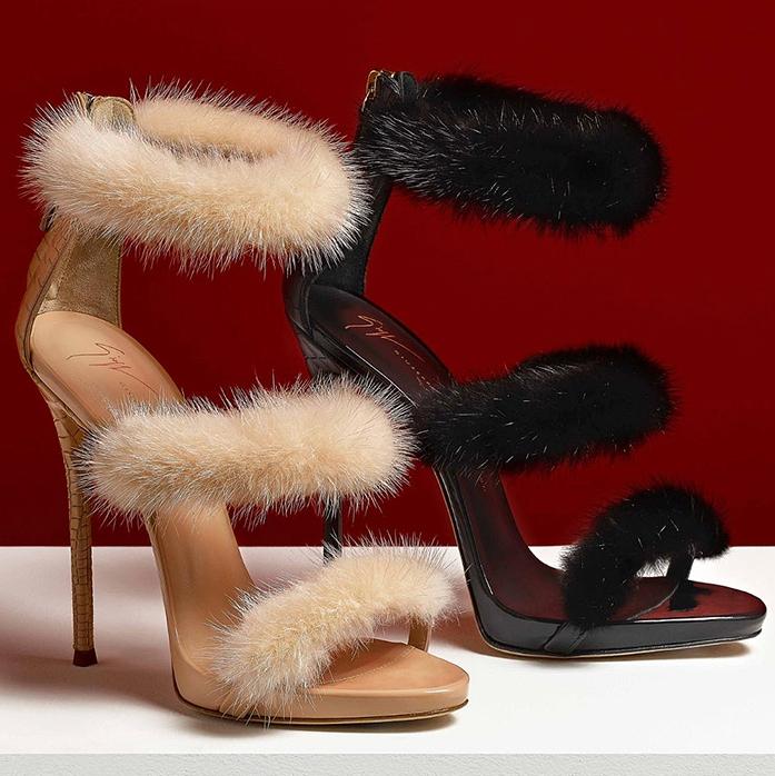 'HARMONY WINTER' leather sandal with mink fur by Giuseppe Zanotti