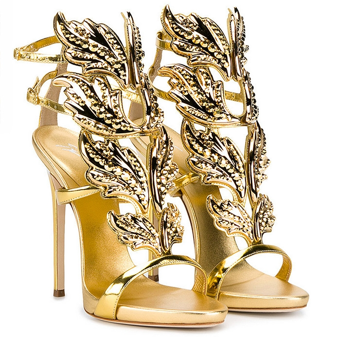Mirrored gold leather 'Cruel' sandal with crystals by Giuseppe Zanotti