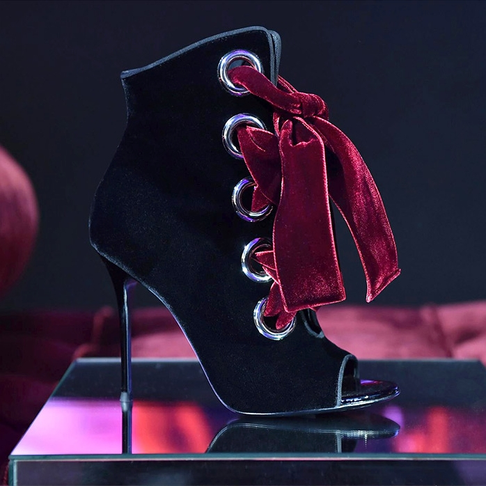 'JEANNINE' velvet boot with lace-up detail by Giuseppe Zanotti