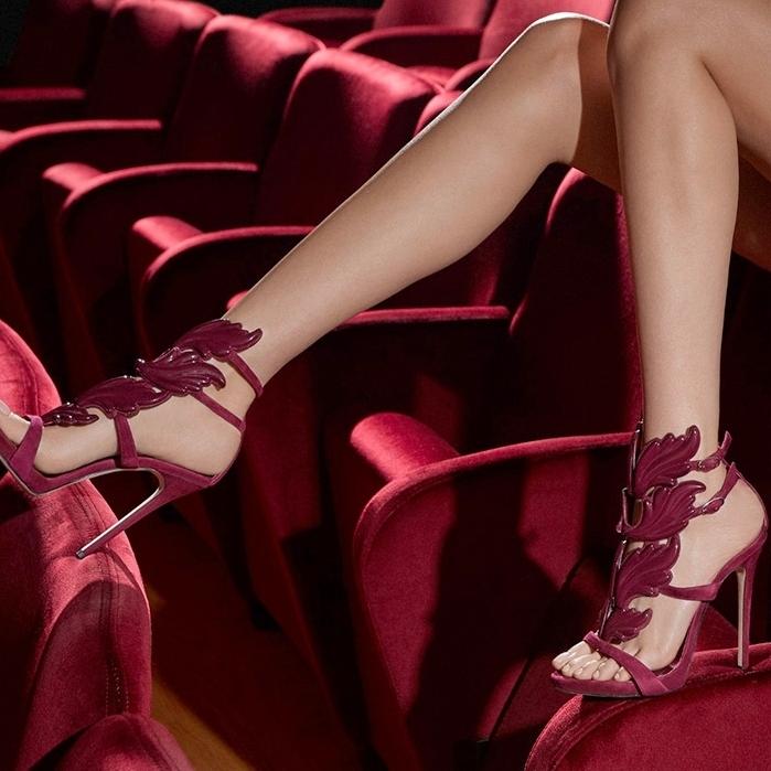 Burgundy suede 'Cruel' sandal by Giuseppe Zanotti