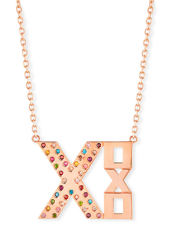 Stevie Wren Rainbow Diamond XOXO 14K Gold Geometric Plate Necklace