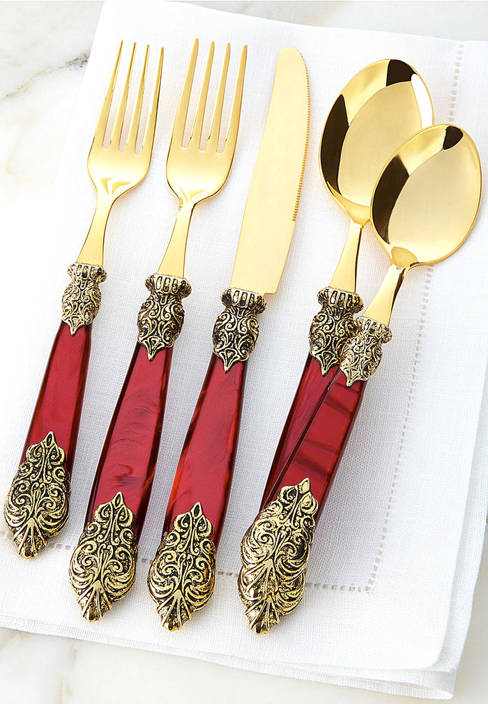 20-Piece Antiqued-Gold Versaille Flatware Service