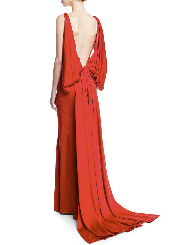 Zac Posen V-Neck Draped-Back Gown