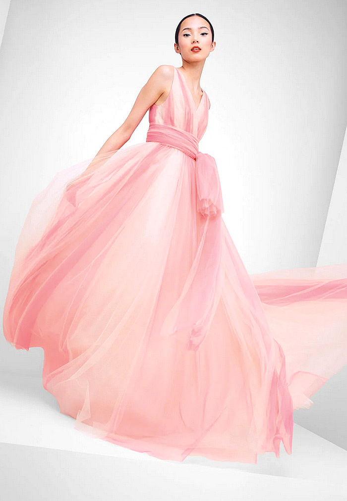 Carolina Herrera V-Neck Belted Ombre-Tulle A-Line Gown