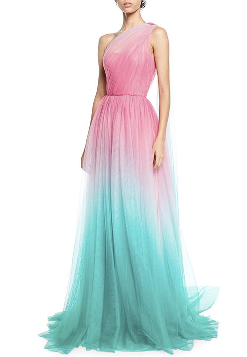 Monique Lhuillier One-Shoulder Two-Tone Ombre Tulle Gown