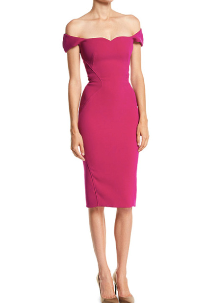 Zac Posen Sweetheart Off-the-Shoulder Cap-Sleeve Fitted Knee-Length Cocktail Dress