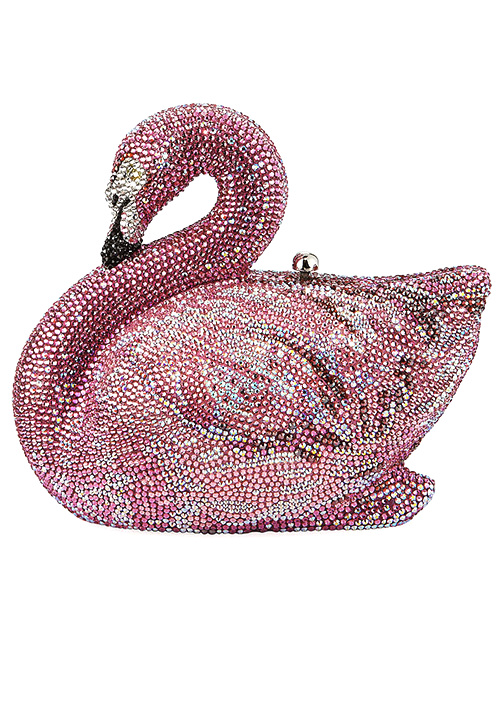 Judith Leiber Couture Avalon Flamingo Crystal Clutch Bag