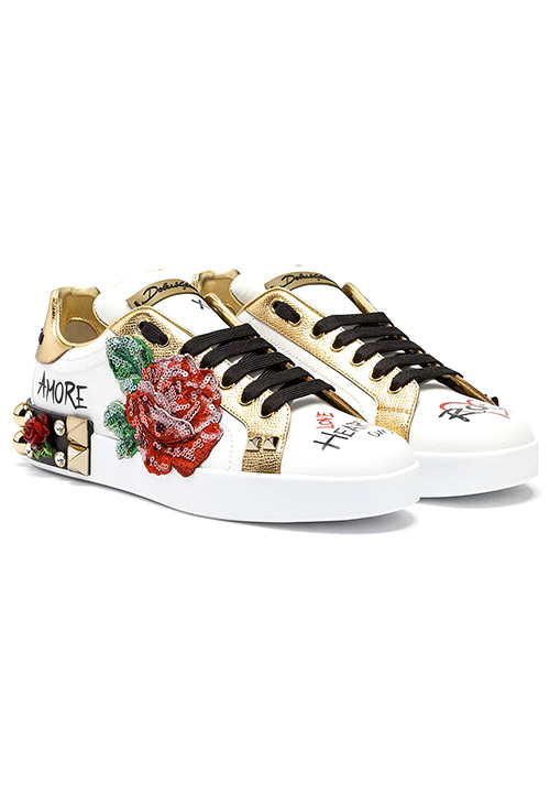 Dolce & Gabbana SNEAKERS IN PRINTED NAPPA CALFSKIN WITH APPLICATIONS