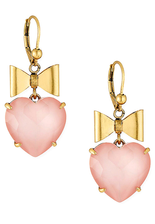 Tory Burch Bow & Crystal Heart Earrings