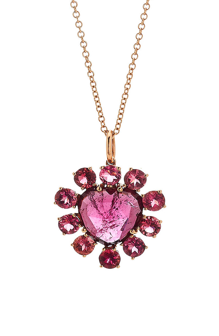 Christina Alexiou Pink Tourmaline Heart Pendant Necklace
