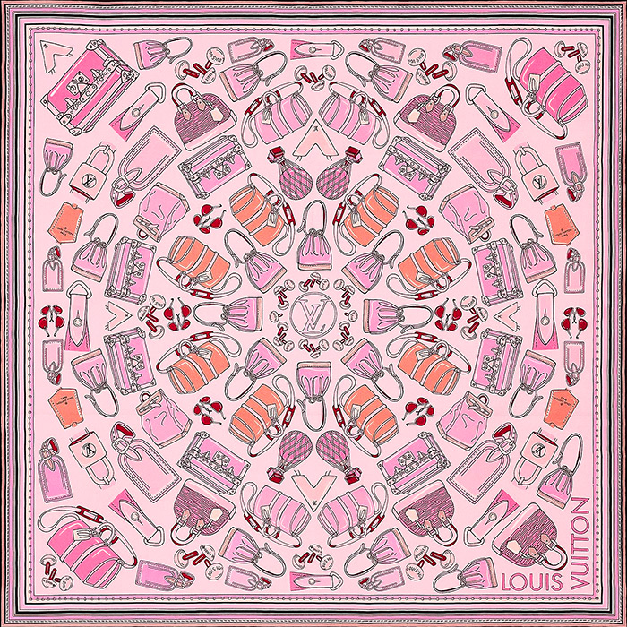 Essentials LV Square 27.5 x 27.5 inches/70 x 70 cm in Pink 100% silk $370.00
