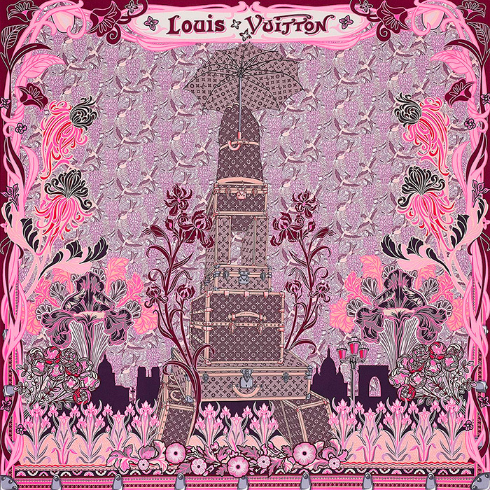 Louis A Paris Square in Pink 35.4 x 35.4 inches 100% silk $485.00