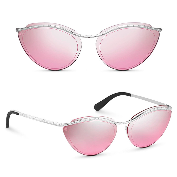 Thelma and Louise Sunglasses $510.00 Pink & silver-color mirrored lenses, Monogram Flowers engraved along the bar and temples