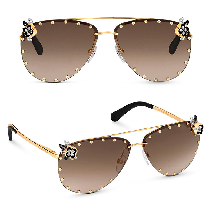 The Party Fleur Sunglasses $1,100.00 inspired by the House's 'Miss Windsor' jewelry collection, strass flowers and studs