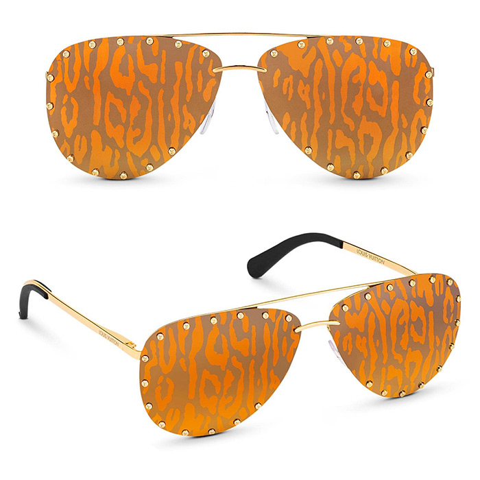 The Party Sunglasses $705.00 Gold-color metal frames, leopard-print lenses for an eye-catching look