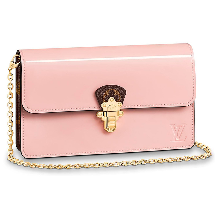 CHERRYWOOD CHAIN WALLET $1,710.00 in Rose Ballerine Pink, L 7.7 x H 4.7 x W 2 inches, Patent calf leather and Monogram canvas
