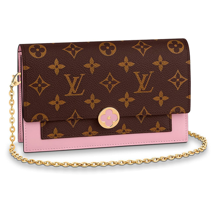FLORE CHAIN WALLET $1,440.00 in Rose Ballerina Pink L 6.9 x H 4.5 x W 1.4 inches, Monogram coated canvas & calf leather