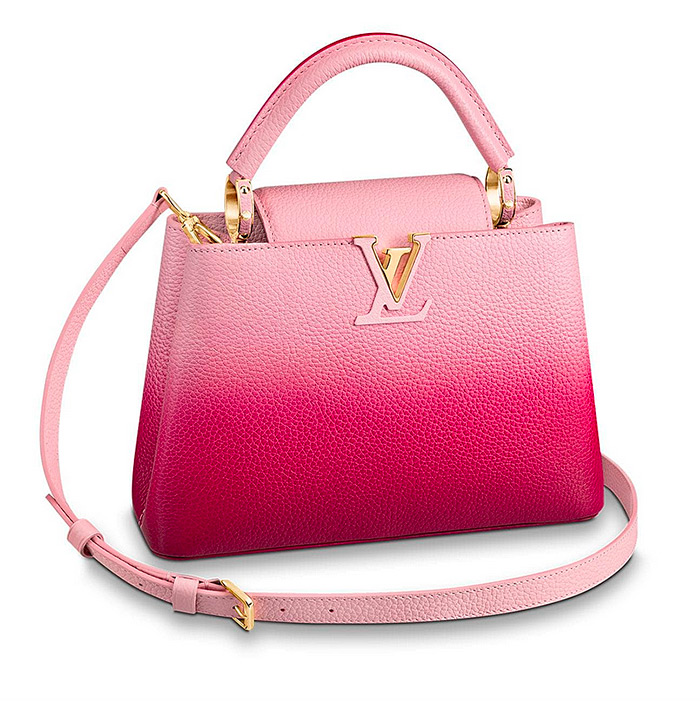 Capucines BB $4,750.00 Pink / Lie de Vin Red, L 10.4 x H 6.9 x W 3.5 inches, Taurillon leather