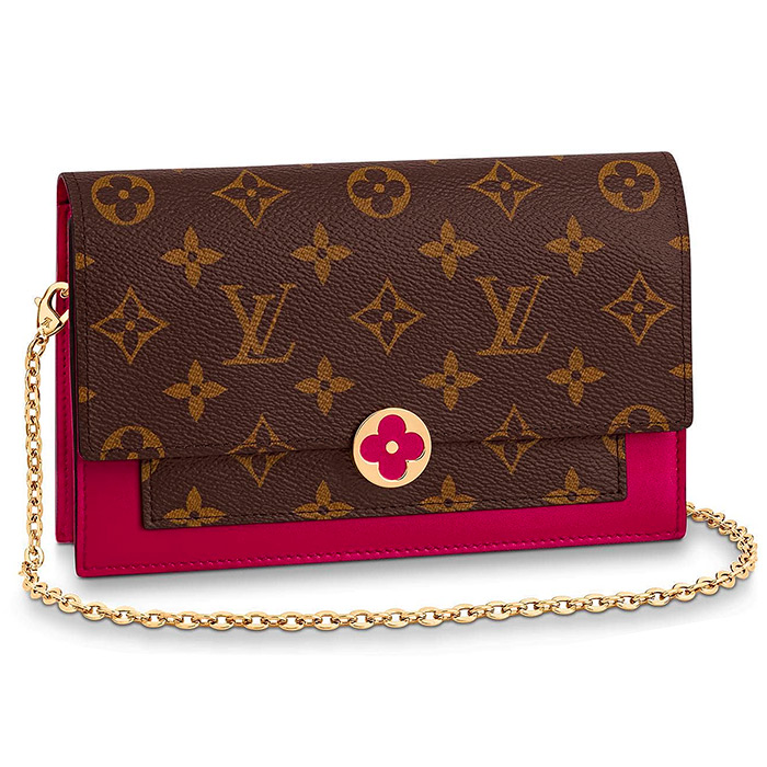 FLORE CHAIN WALLET $1,440.00 in Fuchsia L 6.9 x H 4.5 x W 1.4 inches, Monogram coated canvas & calf leather