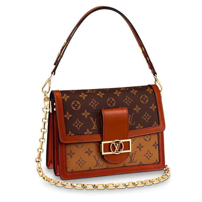 Dauphine MM $2,870.00 Monogram and Monogram Reverse coated canvas, L 9.8 x H 6.7 x W 4.1 inches