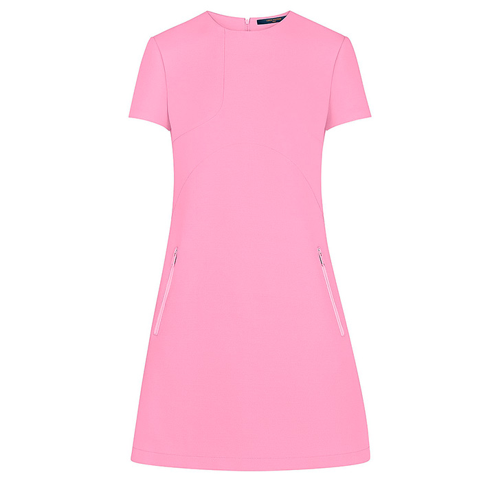 Short Sleeve Patch Dress in Pink, $2,530.00, 56% Wool, 44% Silk, 100% Silk Lining