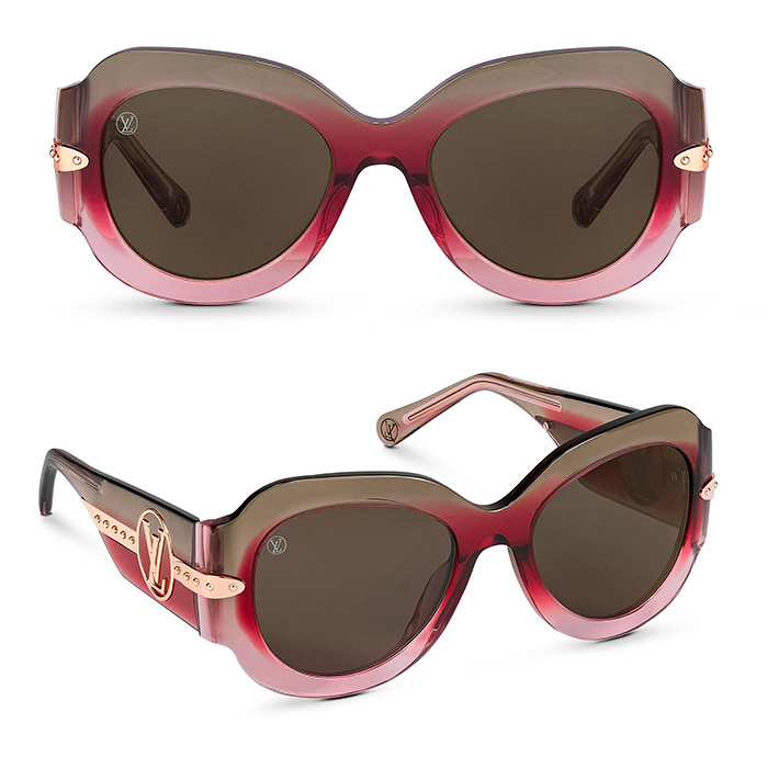 Paris Texas Sunglasses $685.00 Gradient Pink frame, Gold-color metal pieces inserted in acetate frame