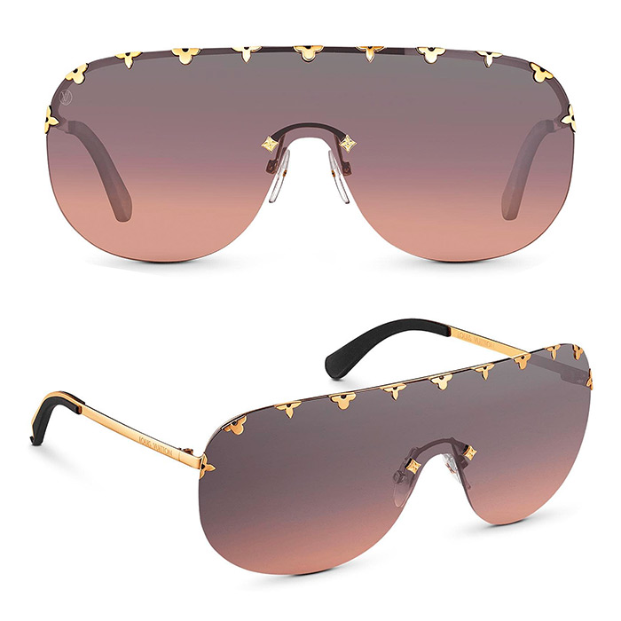 "Purple Rain Sunglasses $705.00 ""Mask"" sunglasses, metal Monogram Flower inserts fitted into the lenses, in 4 different colors"