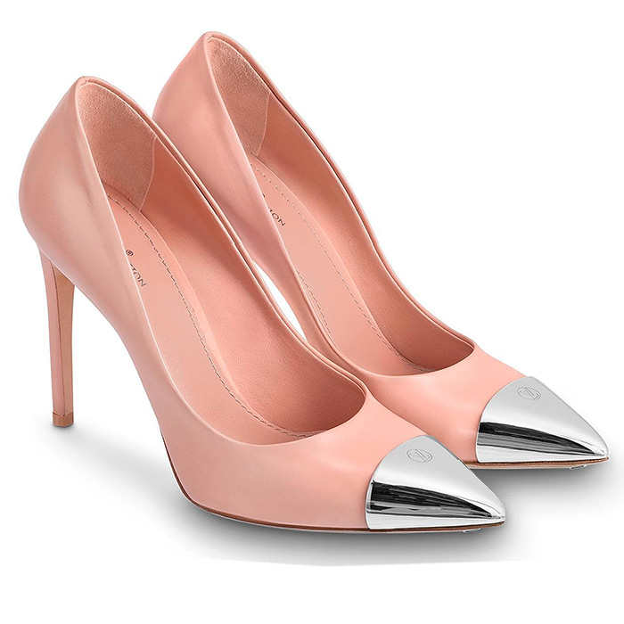 Urban Twist Pump in Blush, $950.00 10.5 cm / 4.1 inch heel, Calf leather, embellished with a stunning silver-tone metal toe cap