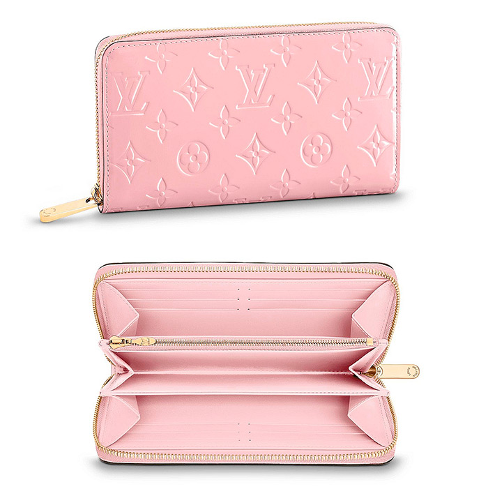 Zippy Wallet $970.00 in Rose Ballerine, 7.7 x 3.9 x 0.8 inches,Monogram Vernis patent cowhide leather in pale-pink
