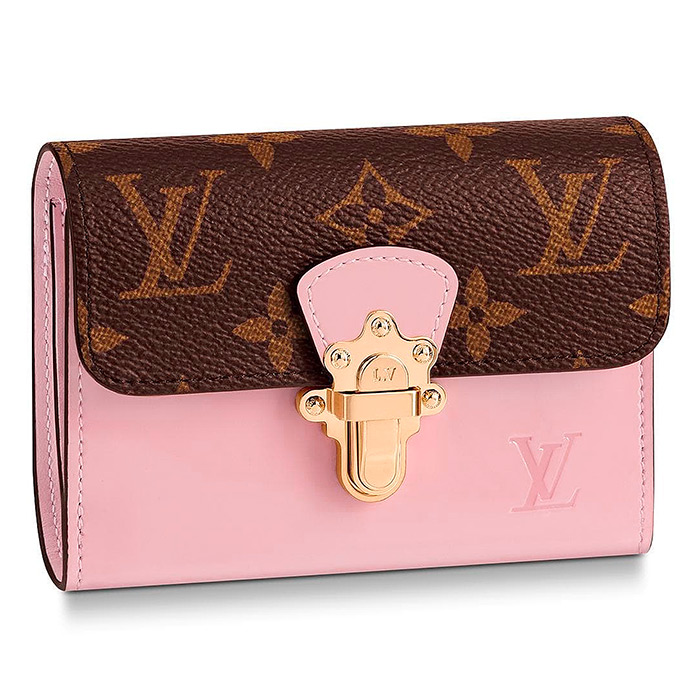 Cherrywood Compact Wallet $860.00 in Rose Ballerine, 4.7 x 3.7 x 1.2 inches, Monogram coated canvas and patent calf leather