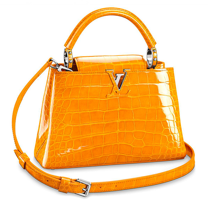 Capucines BB $30,500.00 Jaune d'or, 10.6 x 8.3 x 3.9 inches high gloss alligator leather, available in 24 colors