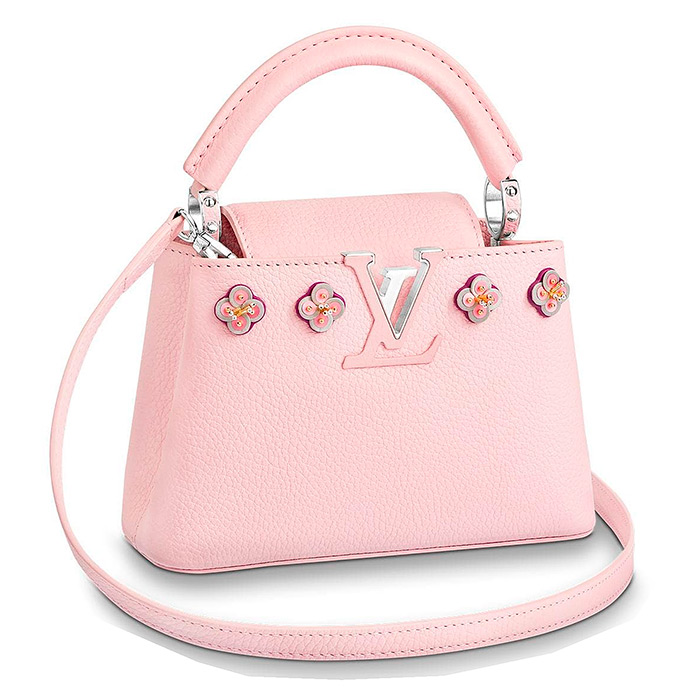 Capucines Mini $4,400.00 in Pink, 7.9 x 5.2 x 3 inches, Taurillon skin with flowers in satin, leather and beads