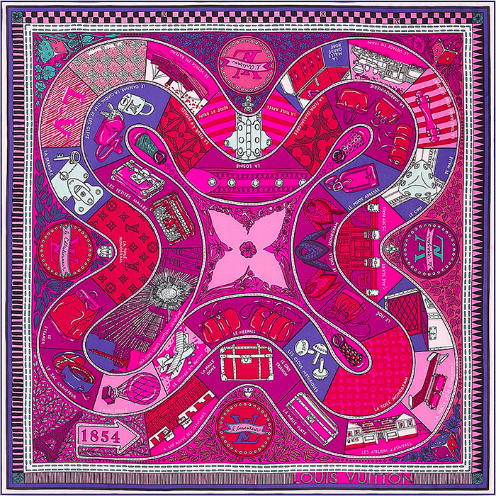 Jeu de Louis Square 27.5 x 27.5 inches in Magenta 100% silk $485.00