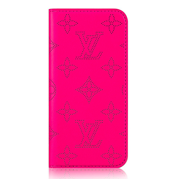 iPhone 7 Plus & 8 Plus Folio $380.00 in Fuchsia, 3.3 x 6.5 inches, Calf Leather outside and lining