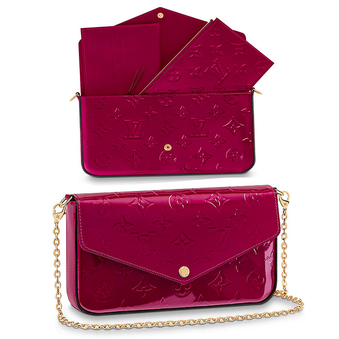 Pochette Félicie $1,170.00 in Magenta 8.3 x 4.7 x 1.2 inches, patent cowhide leather, 2 pockets & chain are removable