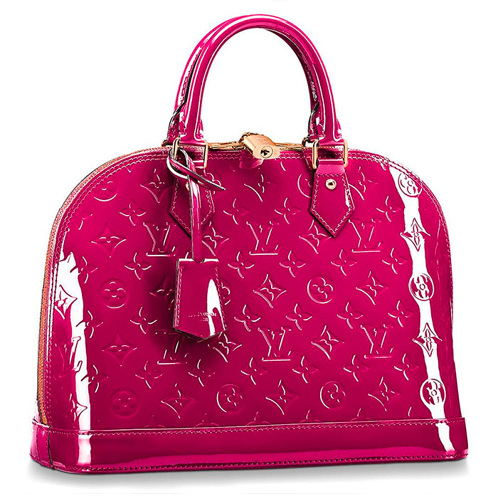 Alma PM in Magenta patent leather 12.8 x 9.5 x 6 inches $2,390.00