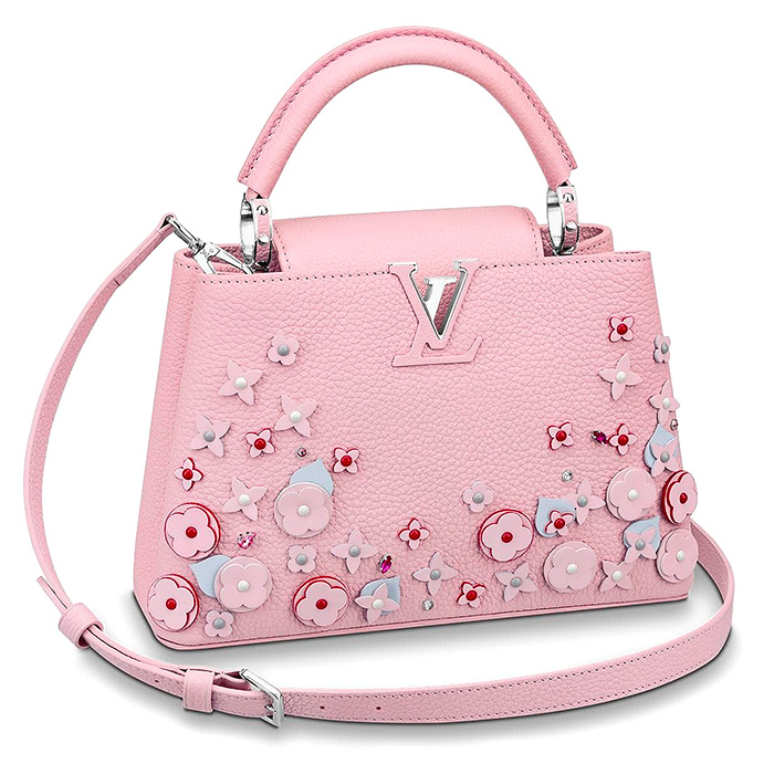 Capucines BB $5,150.00 Rose Pink, L 10.4 x H 6.9 x W 3.5 inches, Taurillon leather, embellished with intricately appliquéd flowers