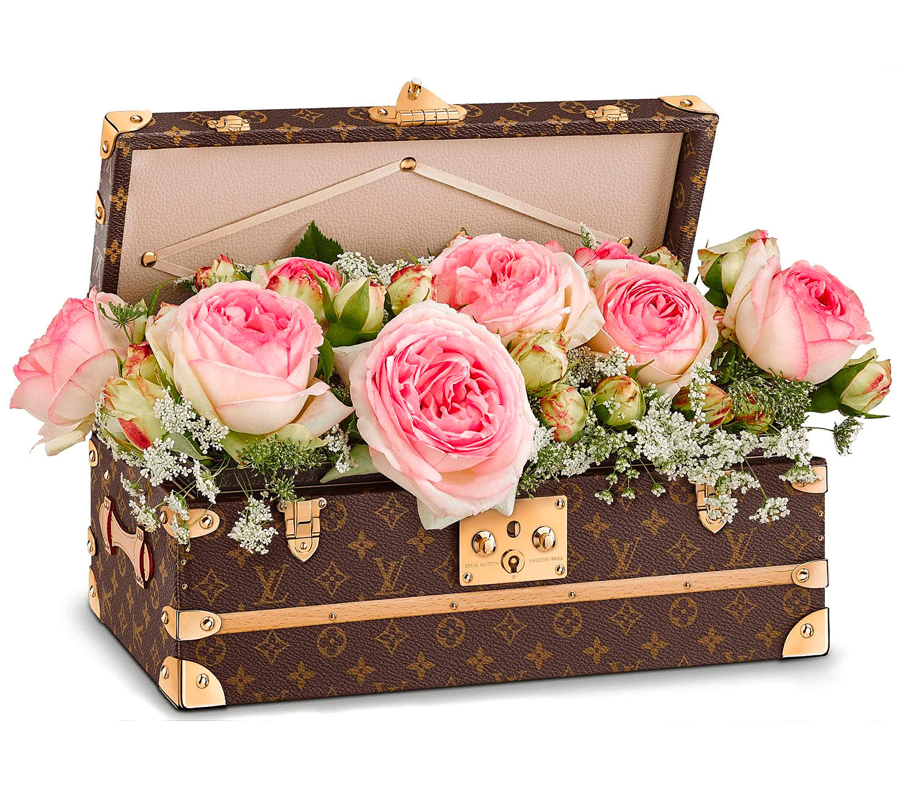 Malle Fleurs - A romantic piece rooted in Louis Vuitton history, the Malle Fleurs is a reinterpretation of an iconic piece created in the 1910s for our very best clients: the flower trunk. The water-resistant metallic tray and Vuittonite lining mean that flowers, water, or soil can be put in the tray without damaging it.