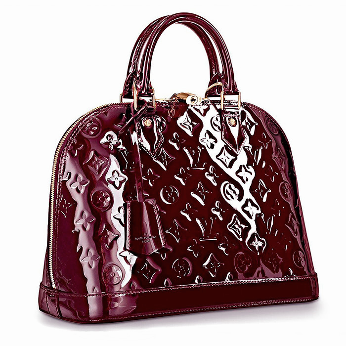 Alma PM in Amarante $2,390.00 12.8 x 9.5 x 6 inches, looking elegant in shiny Monogram Vernis leather