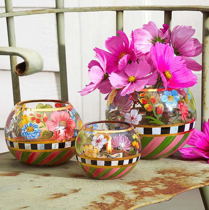 Flower Market Glass Globe Vases, Large, Medium & Small