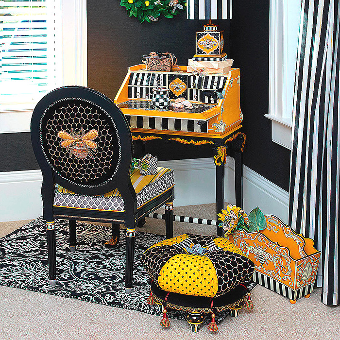 Worker Bee Writing Desk, Honeycomb Footstool, Spelling Bee Magazine Holder