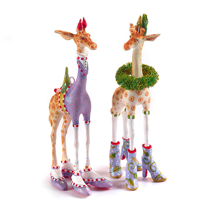Patience Brewster Jambo Janet Giraffe Ornament  &  Jambo George Giraffe Ornament - Purple