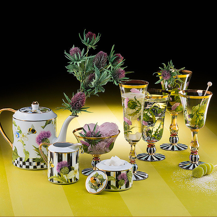Thistle & Bee Collection, Teapot, Creamer & Sugar Bowl