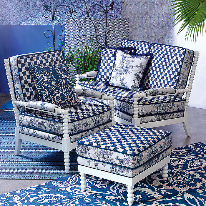 Indigo Villa Outdoor Chair, Ottoman & Loveseat
