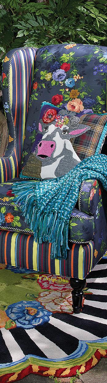 Covent Garden Wing Chair & Frida Cowlo Pillow via  The Design Diva