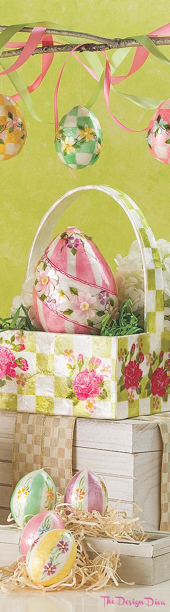 Honeymoon Stripe Egg Ornaments - Set of 5 via  The Design Diva
